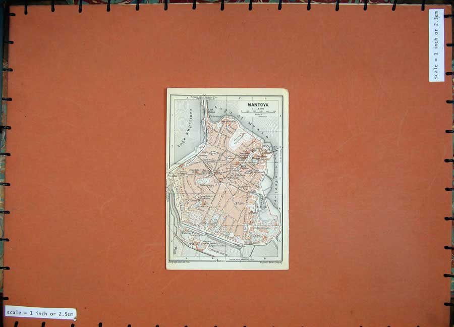 Print 1930 Colour Map Italy Street Plan Mantova Lago Mezzo 111D157 Old Original