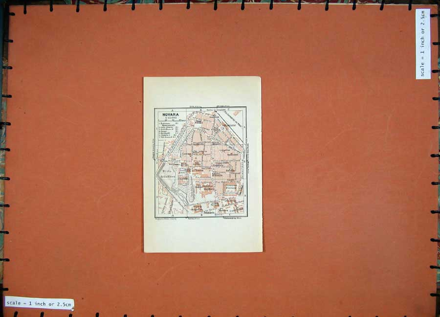Print 1930 Colour Map Italy Street Plan Novara Stazione Prato 114D157 Old Original