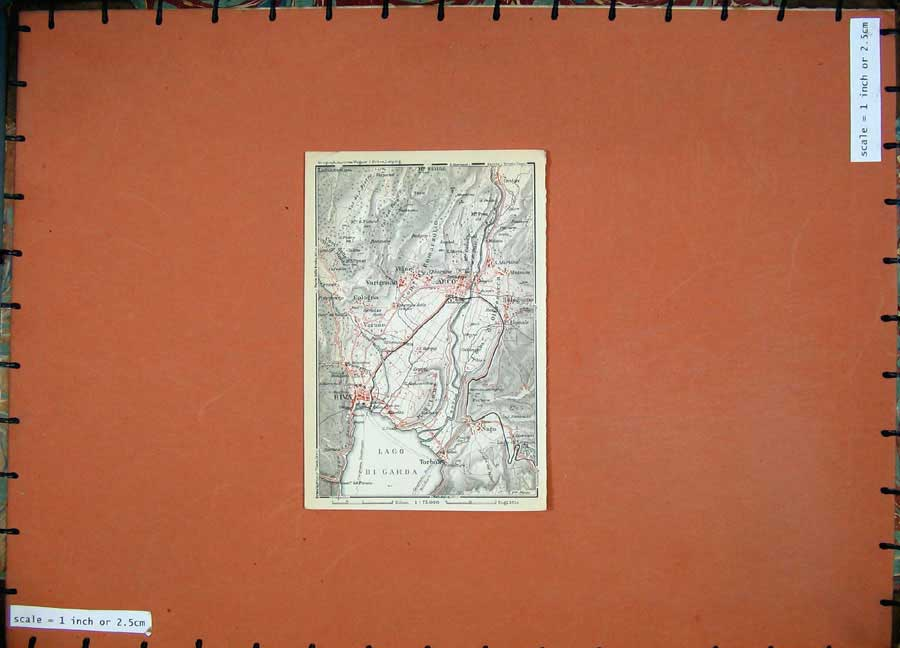 Print 1930 Colour Map Italy Plan Arco Torbole Riva Varone 123D157 Old Original