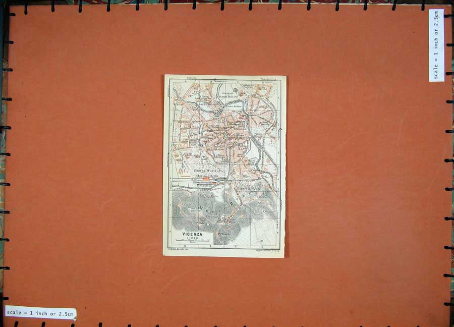 Print 1930 Colour Map Italy Street Plan Vicenza Campo Marzio 125D157 Old Original