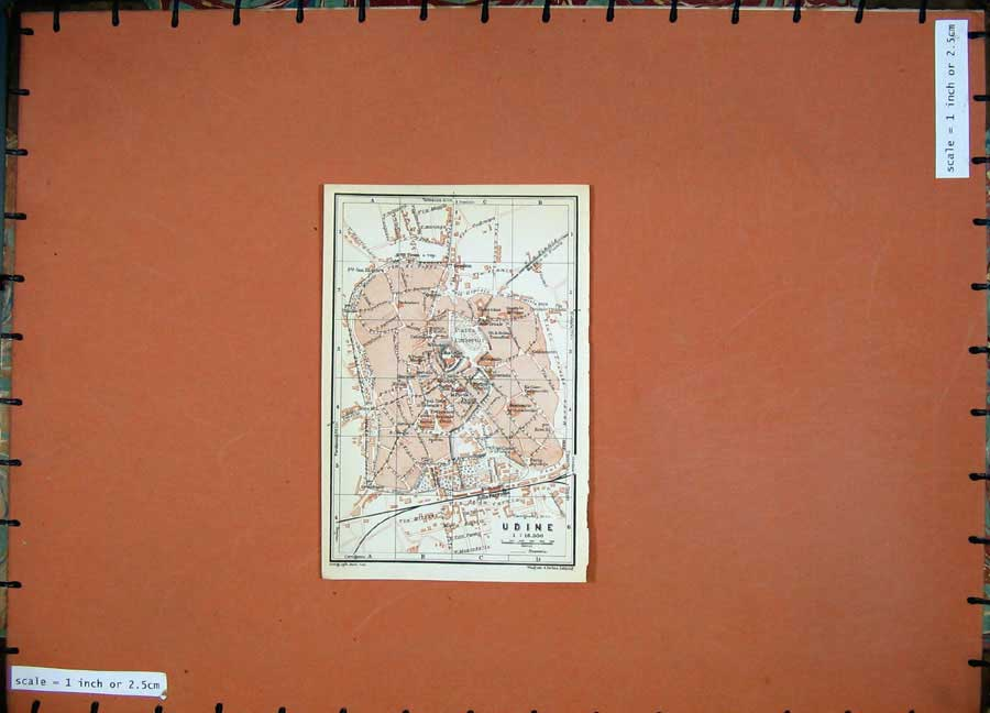Print 1930 Colour Map Italy Street Plan Udine Castello Piazza 127D157 Old Original