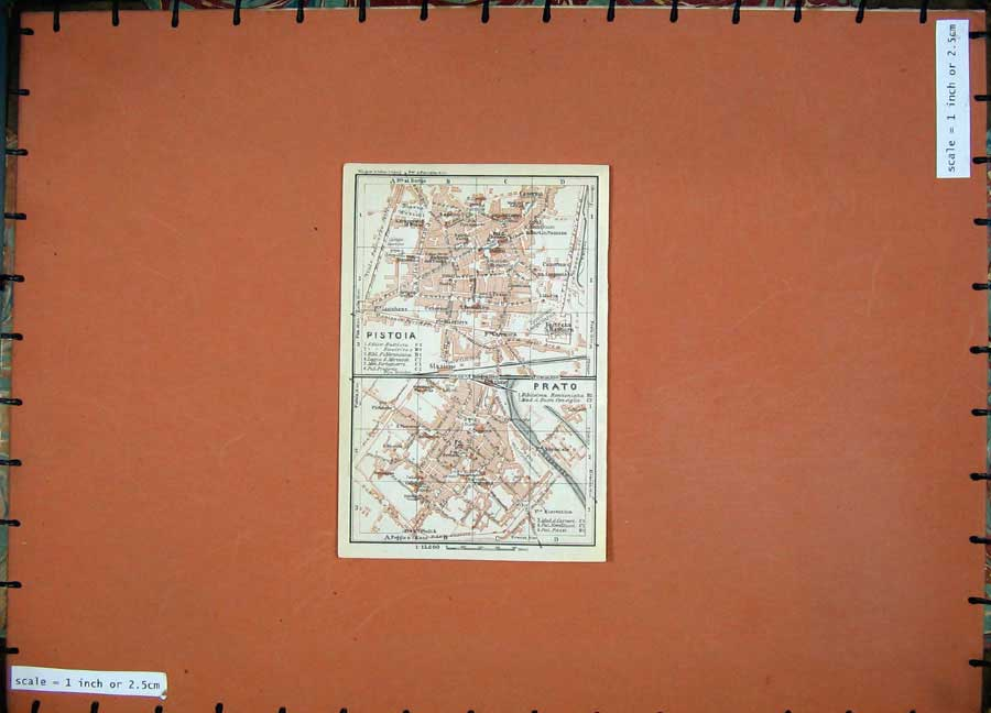 Print 1930Colour Map Italy Street Plan Pistoia Prato Bisenzio 140D157 Old Original