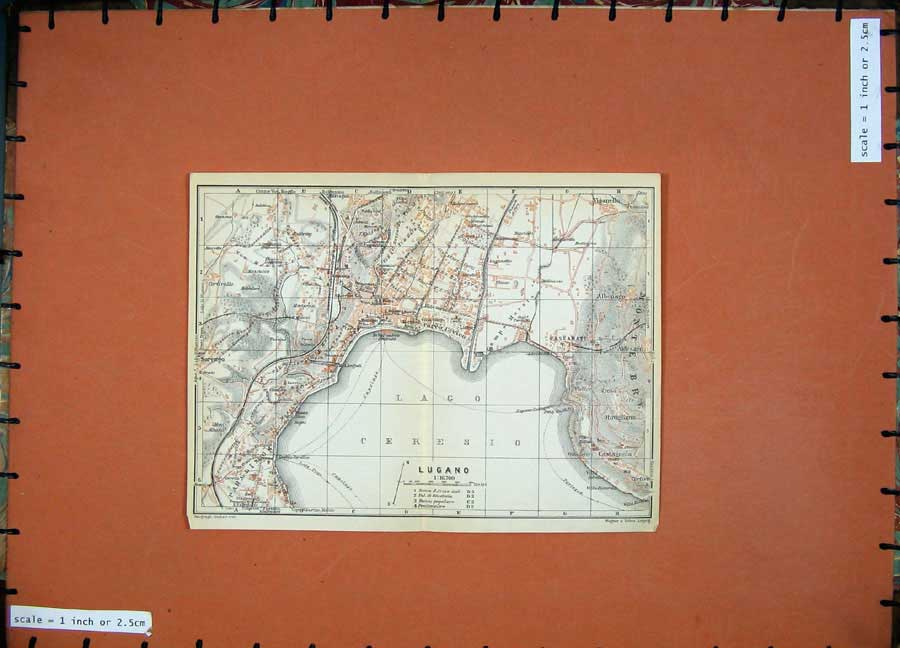 Print 1930 Colour Map Italy Plan Lugano Sorengo Cassarate 141D157 Old Original