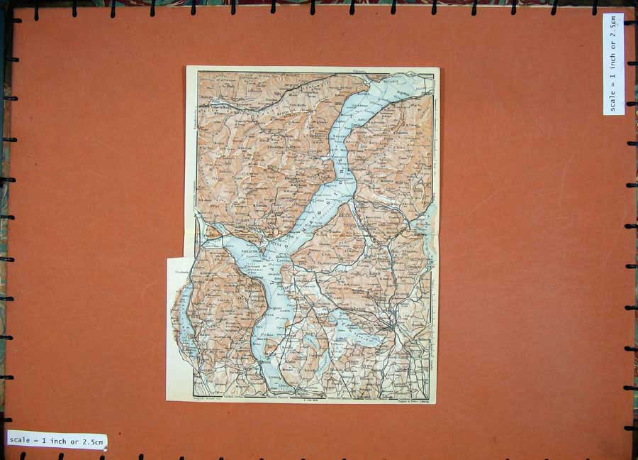 Print 1930 Colour Map Italy Arona Lago Maggiore Pallanza 145D157 Old Original
