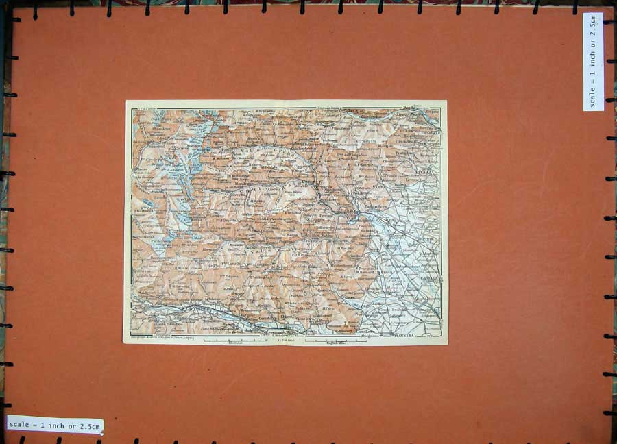 Print 1930 Colour Map Italy Rivara Lanzo Ceres Bussoleno 148D157 Old Original