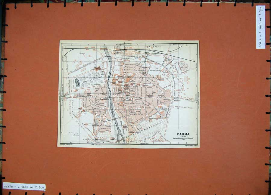 Print 1930 Colour Map Italy Street Plan Parma Pilotta Duomo 155D157 Old Original