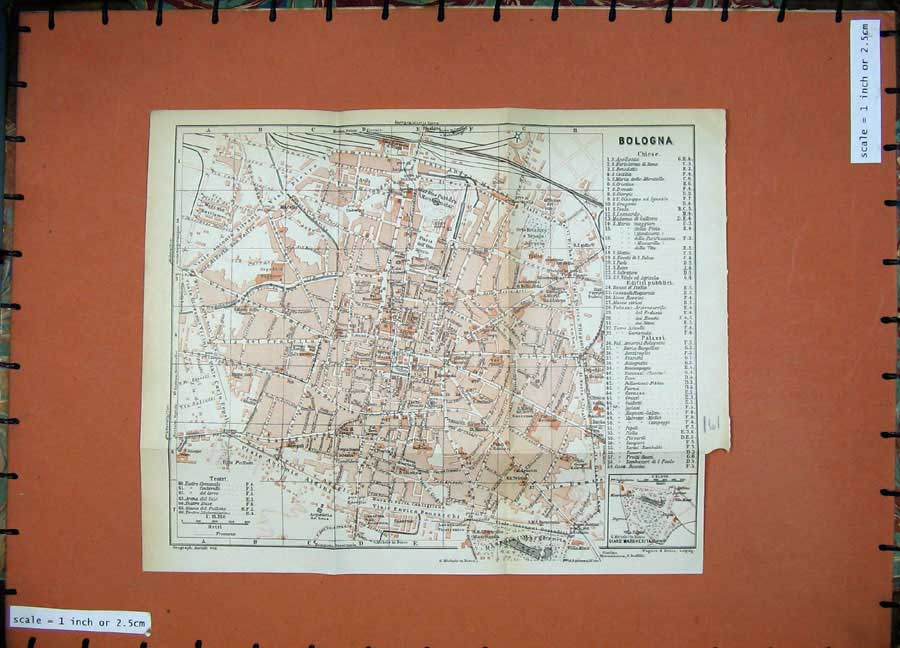 Print 1930 Colour Map Italy Street Plan Bologna Margherita 161D157 Old Original