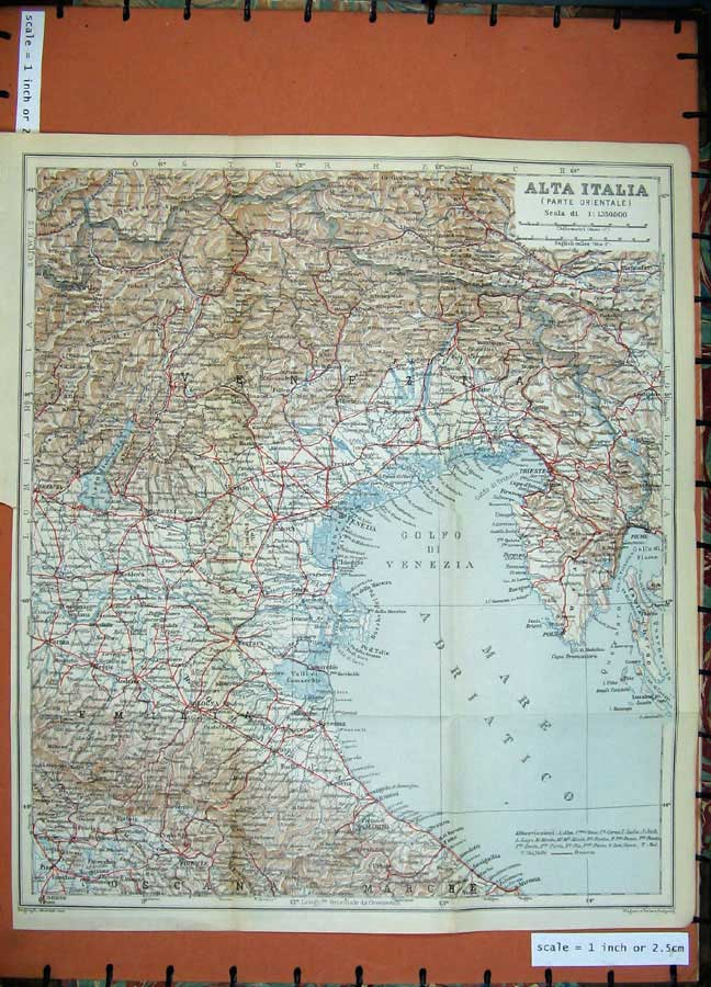 Print 1930 Colour Map Italy Firenze Venazia Trieste Bologna 167D157 Old Original