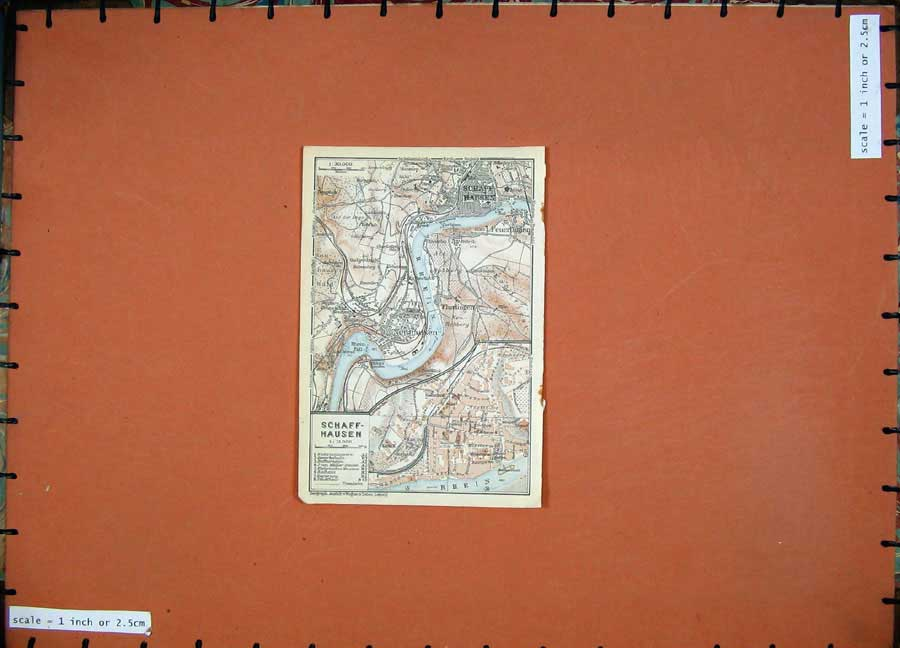 Print 1928 Colour Map Switzerland Street Plan Schaffhausen 102D158 Old Original