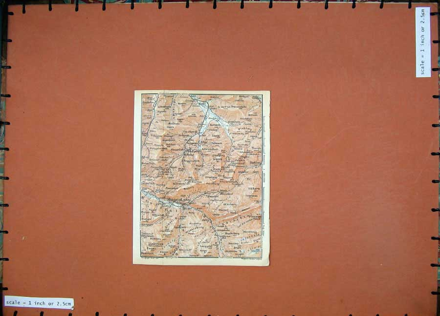 Print 1928 Colour Map Switzerland Alptal Rosstock Mountains 104D158 Old Original
