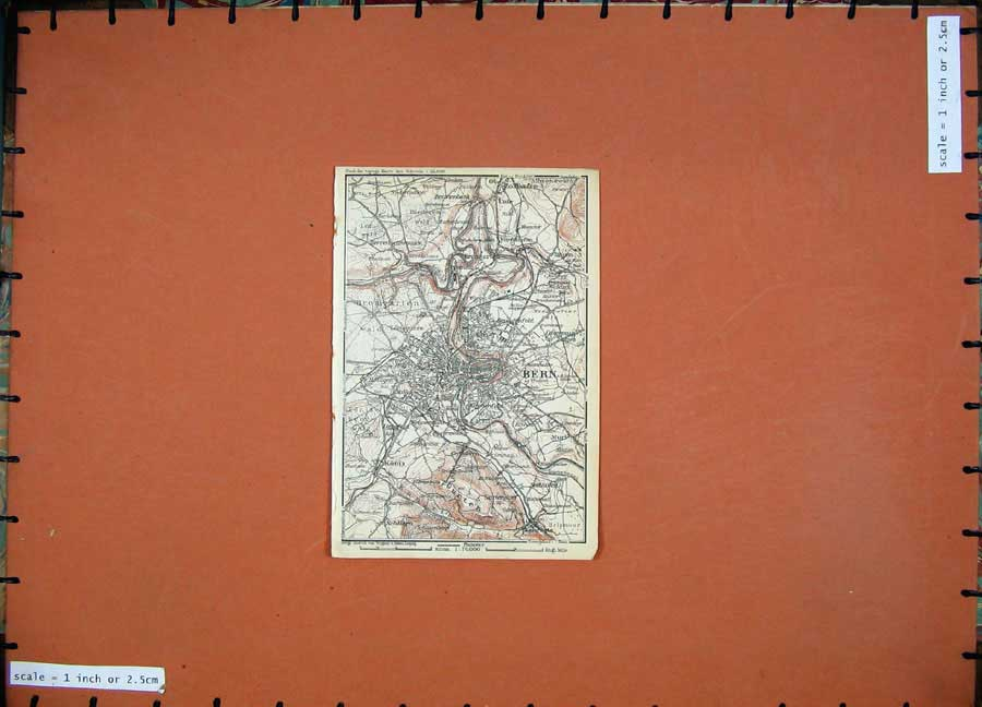 Print 1928 Colour Map Switzerland Bern Plan Gurten Koniz 106D158 Old Original