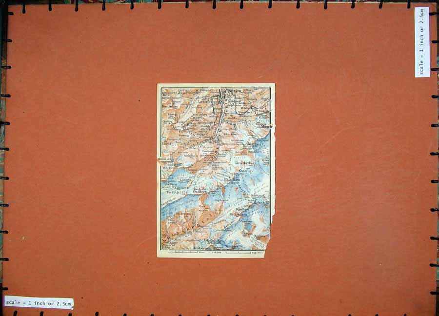 Print 1928 Colour Map Switzerland Monch Mittaghorn Mountains 107D158 Old Original
