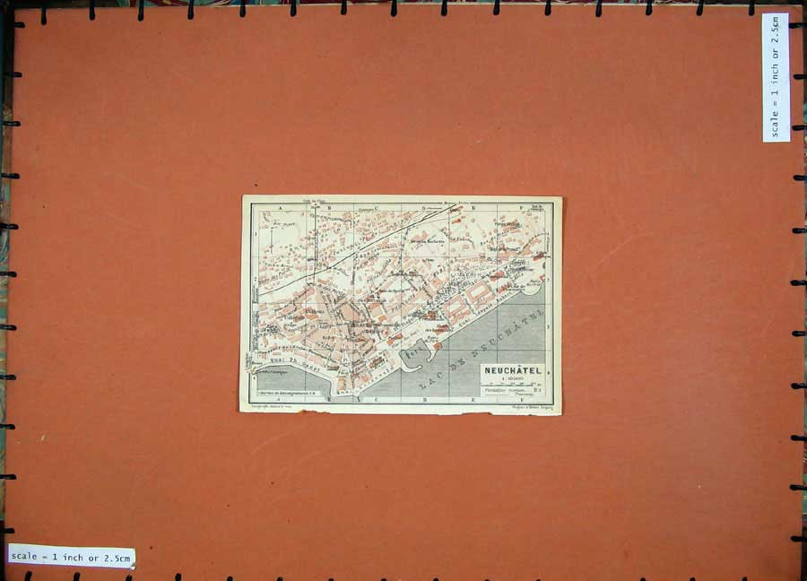 Print 1928 Colour Map Switzerland Street Plan Neuchatel Port 109D158 Old Original