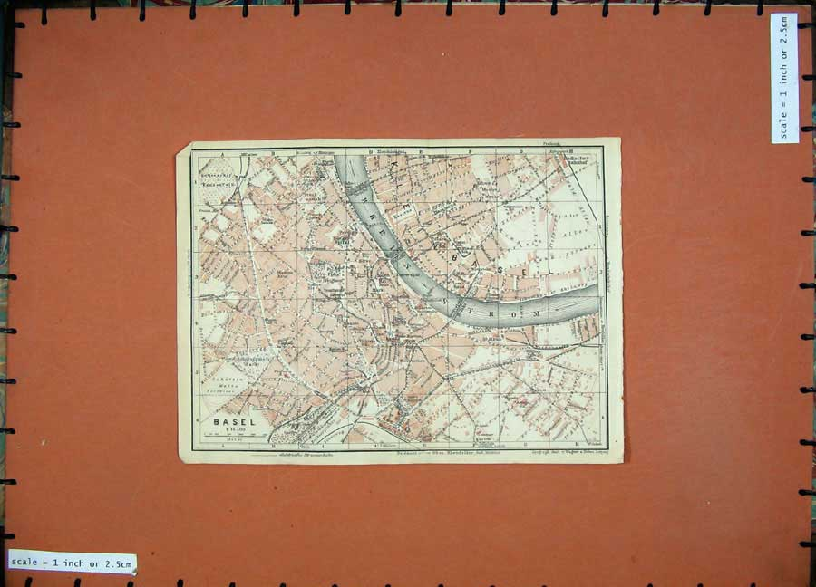 Print 1928 Colour Map Switzerland Street Plan Basel Rhein 113D158 Old Original