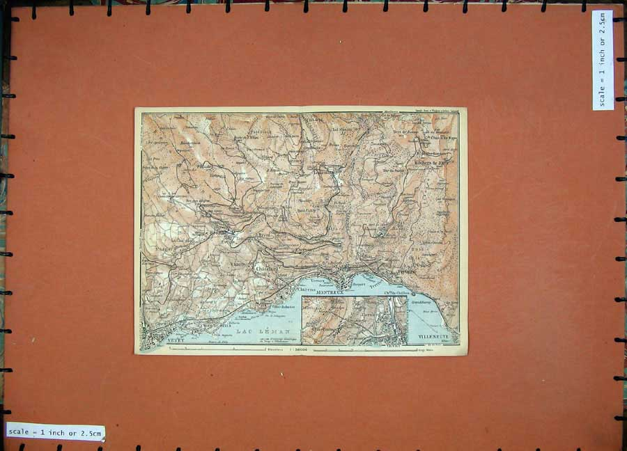 Print 1928 Colour Map Switzerland Montreux Villeneuve Vevey 128D158 Old Original