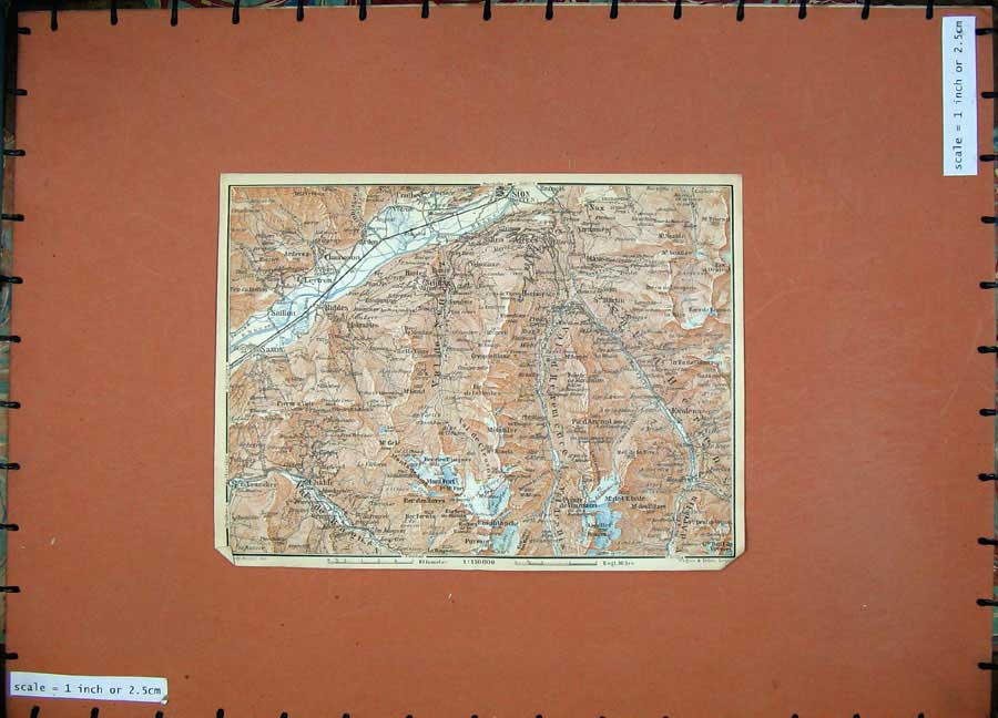 Print 1928 Colour Map Switzerland Chamoson Sion Chable Riddes 131D158 Old Original