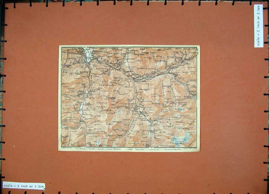 Print 1928 Colour Map Switzerland Salux Tinzen Bergun Thusts 138D158 Old Original