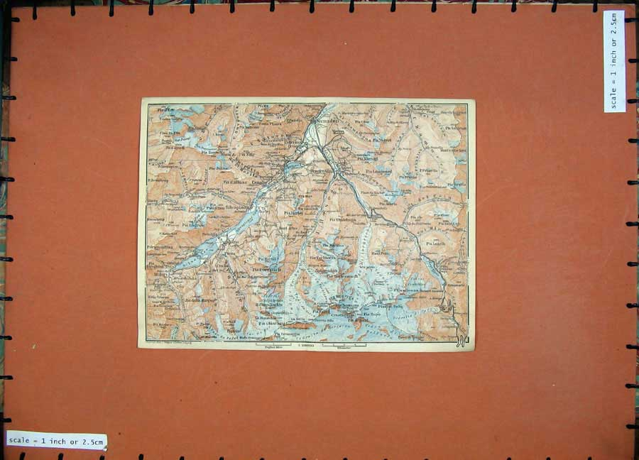 Print 1928 Colour Map Switzerland Celerina Samaden Maria 139D158 Old Original
