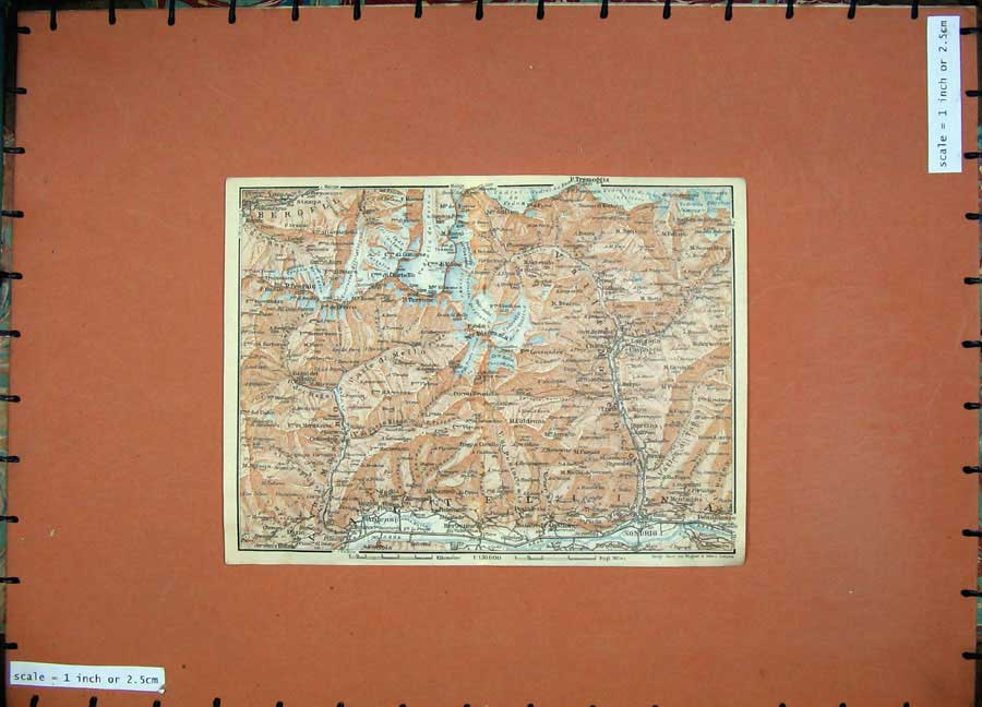 Print 1928 Colour Map Switzerland Ardenno Lanzada Sondrio 140D158 Old Original
