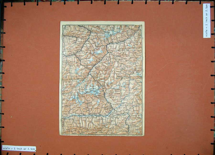 Print 1928 Colour Map Switzerland Sondrio Chur Mountains 141D158 Old Original
