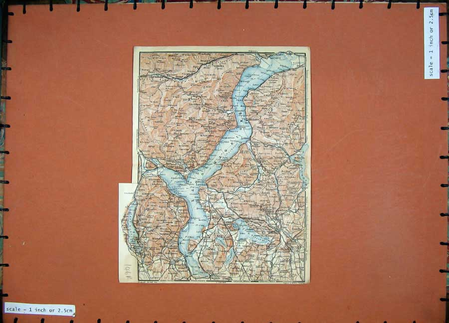 Print 1928 Colour Map Switzerland Plan Stresa Pallanza Raveno 146Rd158 Old Original