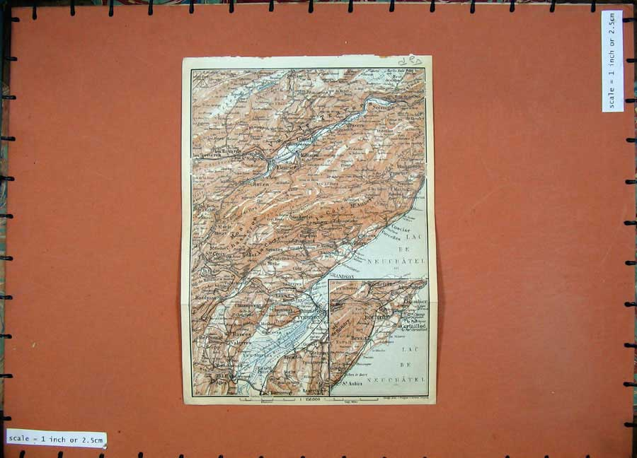 Print 1928 Colour Map Switzerland Travers Gollion Biere Orbe 150Rd158 Old Original