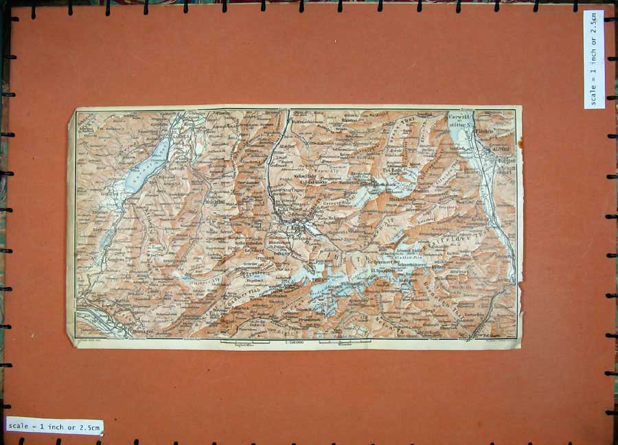 Print 1928 Colour Map Switzerland Sarnen Engelberg Vierwald 157D158 Old Original