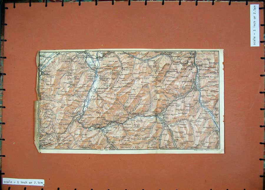 Print 1928 Colour Map Switzerland Bulle Broc Zweisimmen Rubli 159D158 Old Original