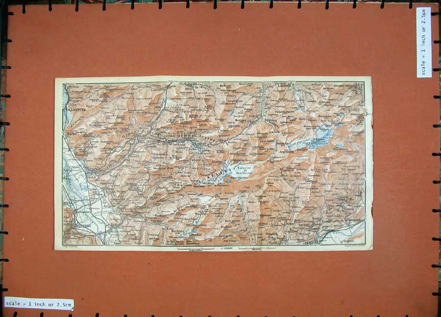 Print 1928 Colour Map Switzerland Monthey St Leonard Roche 162D158 Old Original