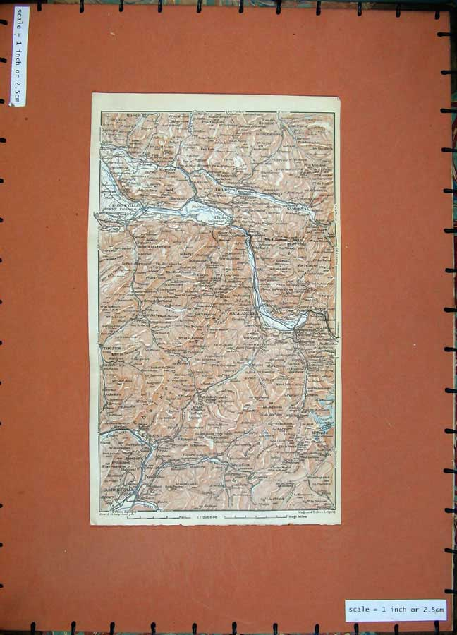 Print 1928 Colour Map Switzerland Sallanches Bonneville 163D158 Old Original