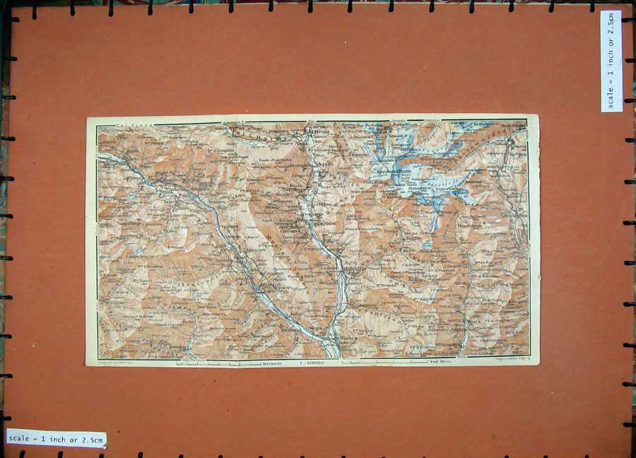 Print 1928 Colour Map Switzerland Olivone Aquila Ludiano 167D158 Old Original