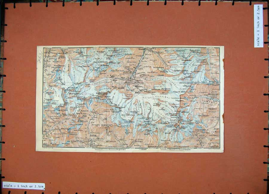 Print 1928 Colour Map Switzerland Visp Raron Matterhorn Mont 169Rd158 Old Original