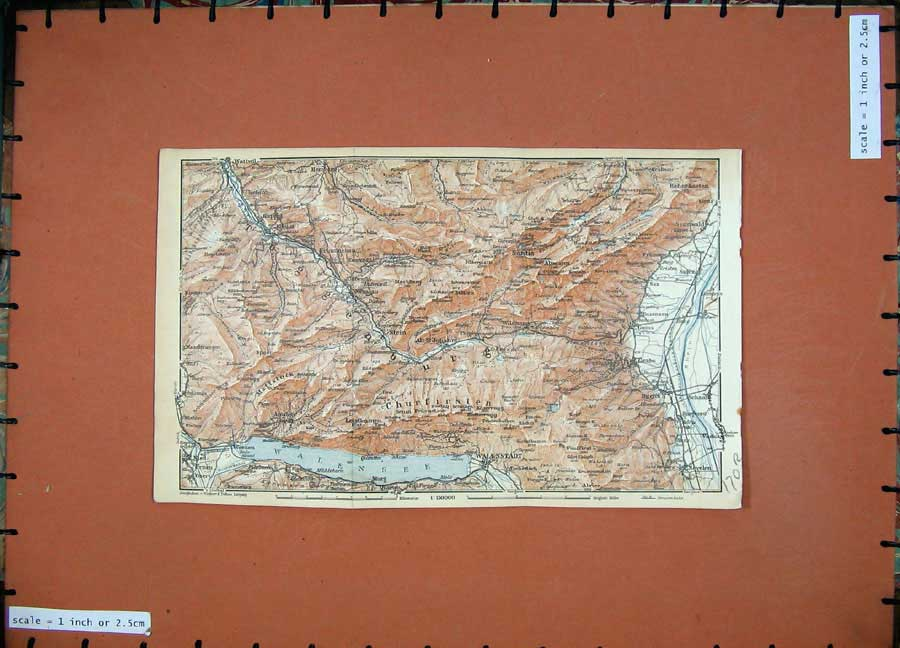 Print 1928 Colour Map Switzerland Grabs Walenstadt St Gallen 170Rd158 Old Original