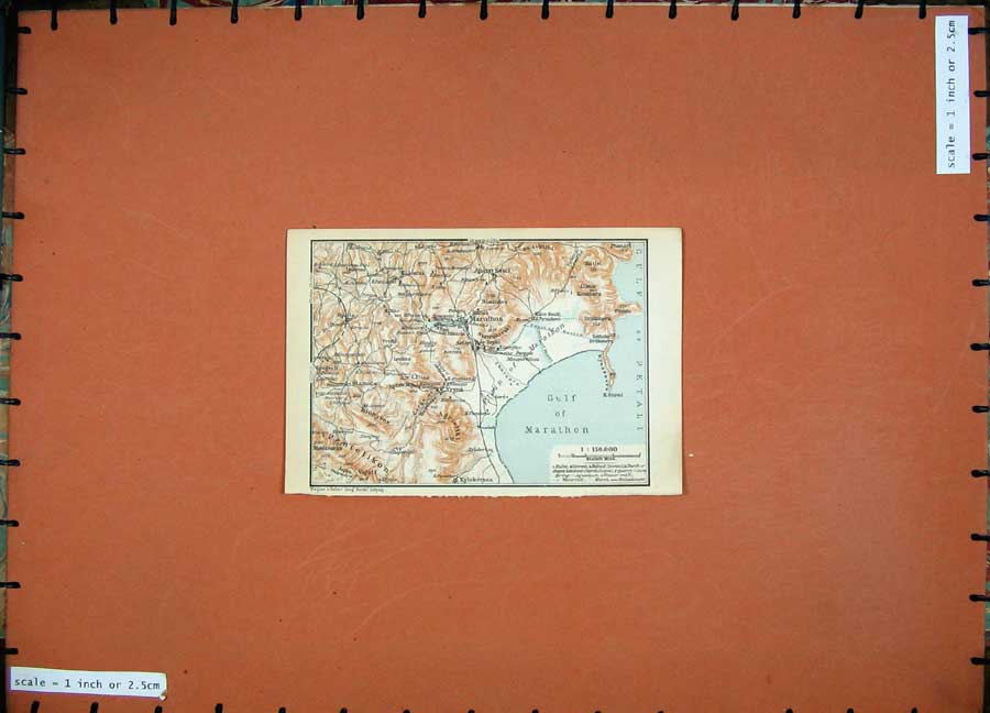 Print 1909 Colour Map Greece Gulf Marathon Apano Souli 104D160 Old Original
