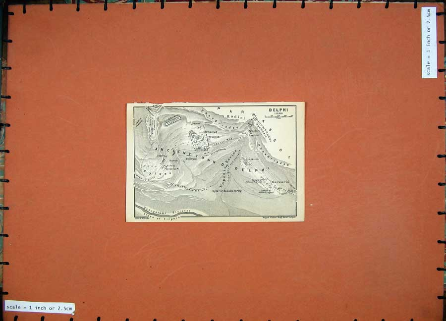 Print 1909 Map Greece Plan Delphi Marmaria Gymnasium 106D160 Old Original