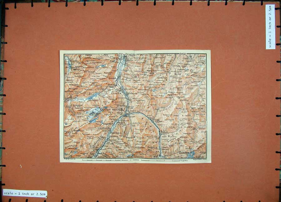 Print 1905 Colour Map Glarus Matt Mollis Schwanden Linthal 116D164 Old Original