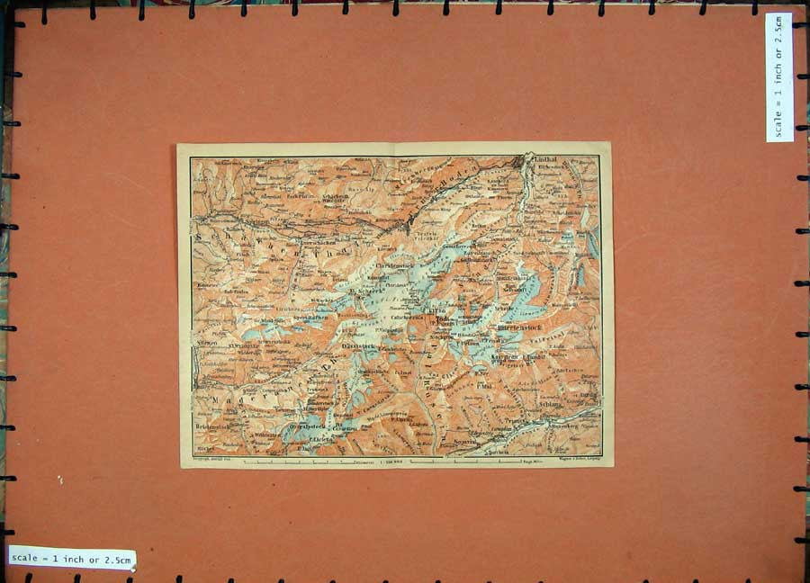 Print 1905 Colour Map Switzerland Linthal Schlans Silenen 117D164 Old Original