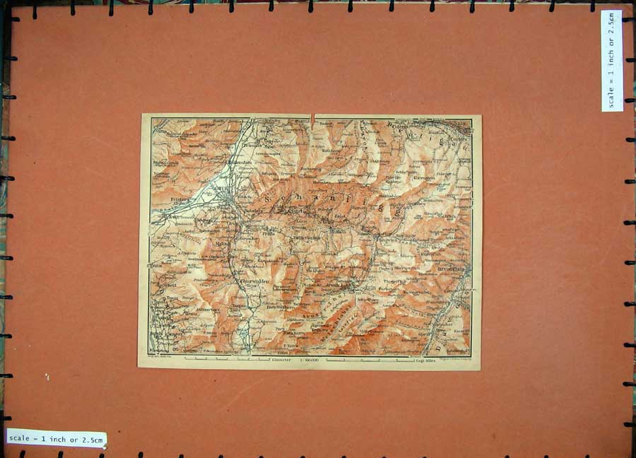 Print 1905 Colour Map Switzerland Chur Churwalden Fideris 131D164 Old Original