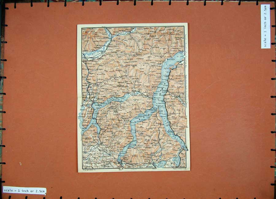 Print 1905 Colour Map Switzerland Italy Como Lugano Lecco 139D164 Old Original