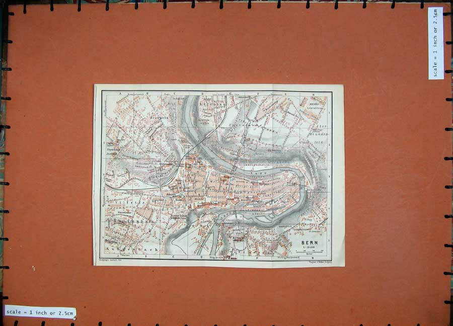 Print 1905 Colour Map Street Plan Bern Germany Aare River 140Rd164 Old Original
