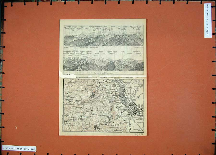 Print 1905 Colour Map Switzerland Italy Thun Niesen Aare 141Rd164 Old Original