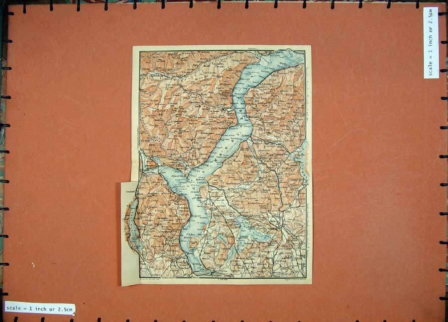 Print 1905 Colour Map Switzerland Italy Stresa Pallanza Lago 142Rd164 Old Original