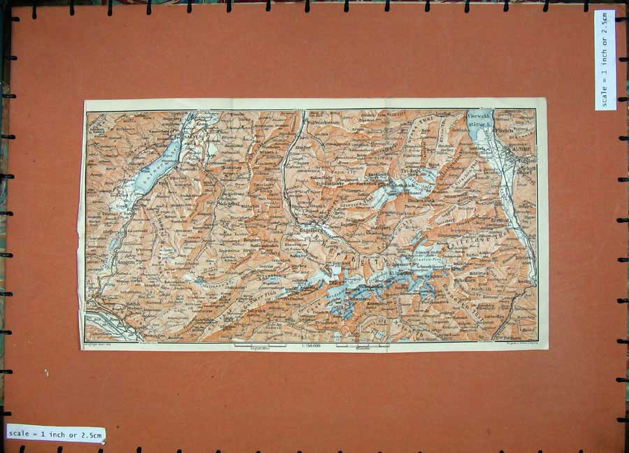Print 1905 Colour Map Switzerland Sarnen Altorf Meiringen 147D164 Old Original