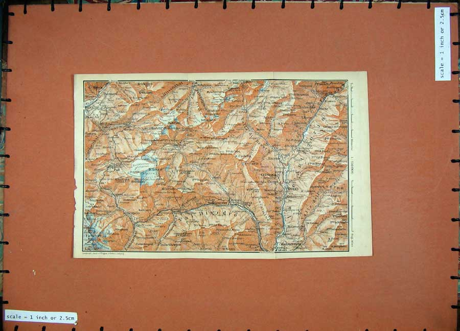 Print 1905 Colour Map Switzerland Crodo Brig Leone Agaro 156D164 Old Original