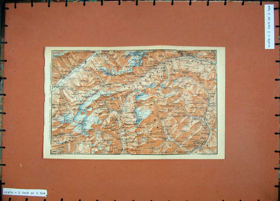 Print 1905 Colour Map Switzerland Oberwald Airolo Mountains 157D164 Old Original