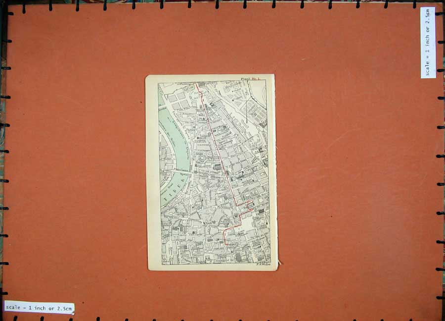 Print 1899 Colour Map Rome Street Plan Tiber River Piazza 101D165 Old Original