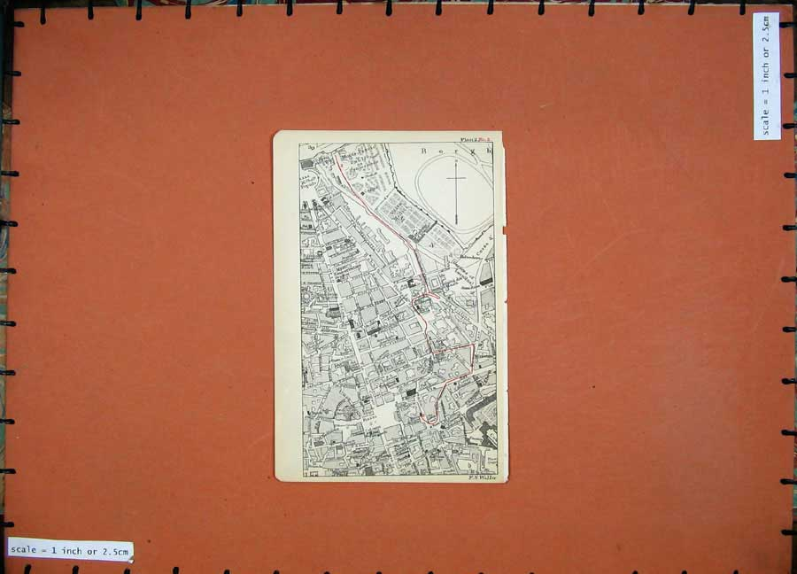 Print 1899 Colour Map Rome Street Plan Borgh Piazza Popolo 102D165 Old Original