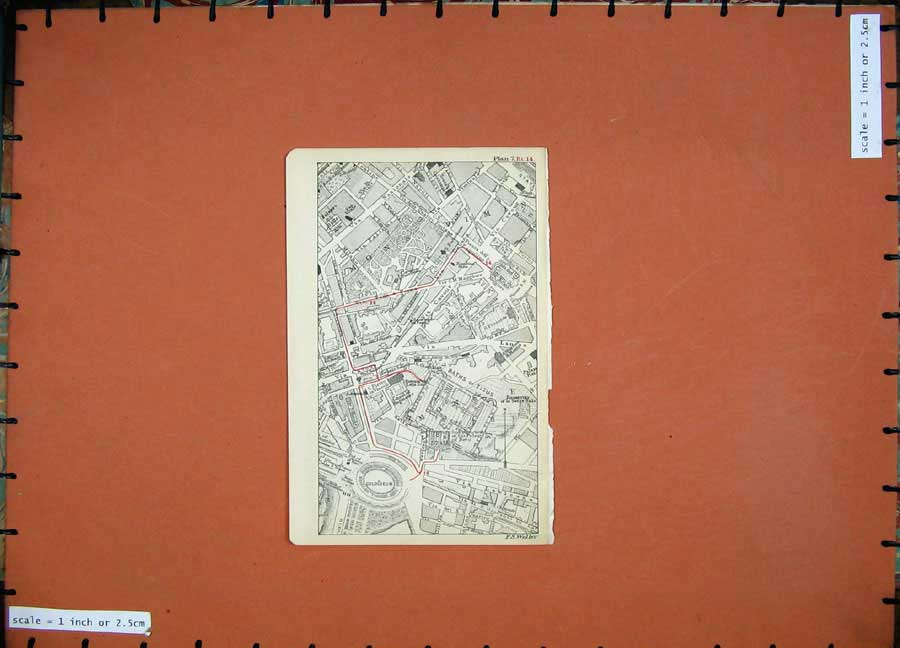 Print 1899 Colour Map Rome Street Plancolosseum Titus Baths 107D165 Old Original