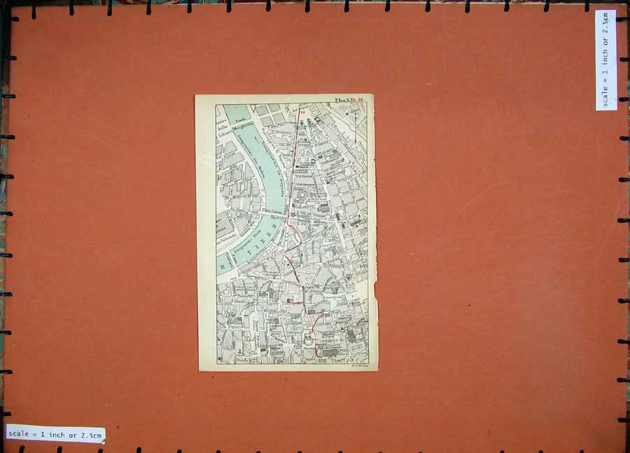Print 1899 Colour Map Rome Street Plan River Tiber Popolo 108D165 Old Original
