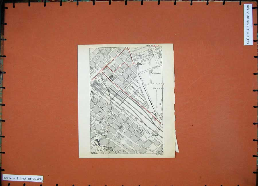 Print 1899 Map Rome Plan Military Barracks Palazzo 123D165 Old Original